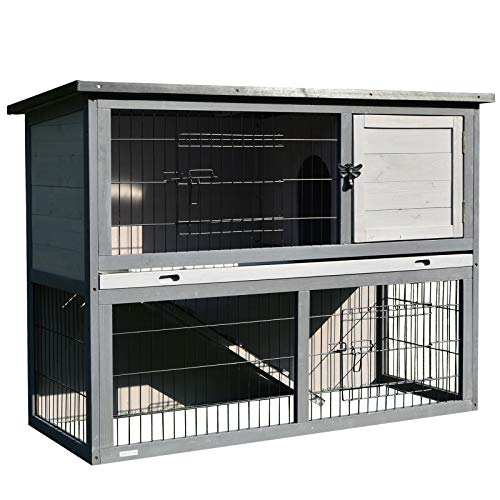 PawHut 2-Tier Wooden Rabbit Hutch with Upper House Area and Lower Play Area with Cage, Great for Bunnies/Small Animals