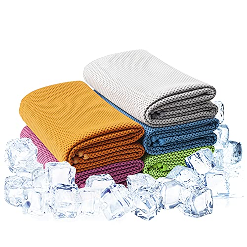 """JZMZRJ 5Packs Cooling Towel (40""""x 12""""), Ice Towel, Yoga Towel, Soft Breathable Chilly Towel Stay Cool for Yoga, Cool Towel, Workout, Camping, Fitness, Running, Workout & More Activitie"""