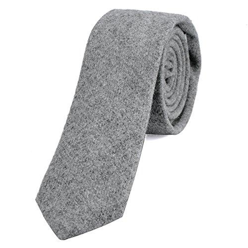 DonDon Herren Krawatte 6 cm Baumwolle hellgrau
