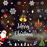 Coavas Snowflake Window Sticker Christmas Holiday Decorative No Glue Christmas Window Clings with Snowflake Snowman Santa Claus Merry Christmas Sign for Kids 7.8-inch by 11.8-inch (11 Packs,316 PCS)