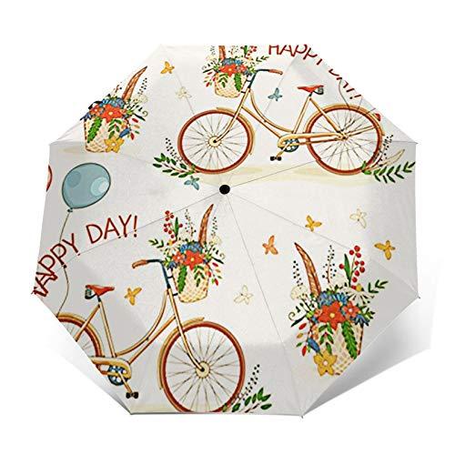 Paraguas Plegable Automático Impermeable Bicicleta Ruedas Flor, Paraguas De Viaje Compacto a Prueba De Viento, Folding Umbrella, Dosel Reforzado, Mango Ergonómico