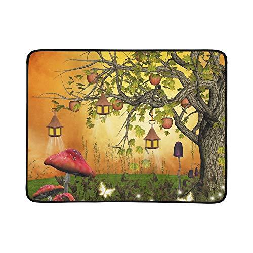 KAOROU Baum-Äpfel-Laternen verzauberte Lichtung tragbare und Faltbare Deckenmatte 60x78 Zoll-handliche Matte für kampierenden Picknick-Strand