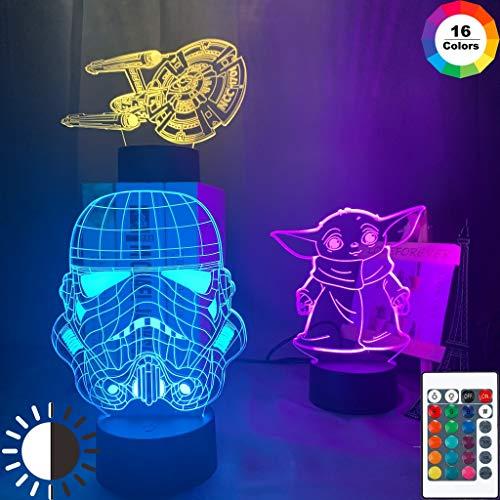 Star Sci-fi Moive Wars Baby Yoda Starship Ncc 101 Imperial Stormtrooper Lampada da notte a LED 3D Lampada da tavolo regalo di compleanno per bambini decorazione della camera da comodino