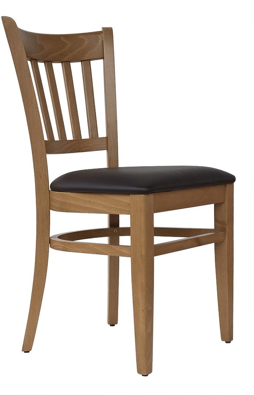 Abritus Set 2 Stühle Stuhl Buche massiv Honig-Eiche gepolstert braun T002