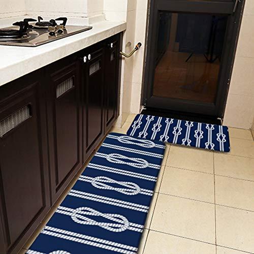 Juego de 2 alfombras de cocina y alfombrilla, azul y blanco, cuerda, alfombra de cocina náutica, antideslizante, suave, suave, absorbente, para cocina, piso, baño, fregadero, lavandería, oficina