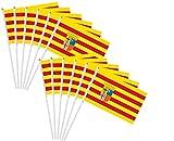 Durabol 12PCS Bandera de Mano de Aragón Comunidades autónomas de España (20X30CM) (Aragón)