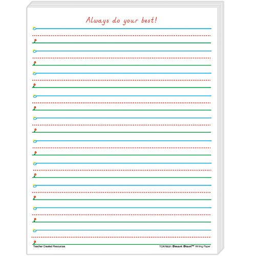 Teacher Created Resources Smart Start 1-2 Writing Paper: 100 Sheets, TCR76531, White