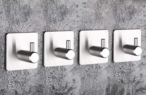 4-delige muurhaken, zelfklevende haken, roestvrijstalen handdoekhaken, badkamer- en keukenlijmen, water- en oliebestendige muurhaken
