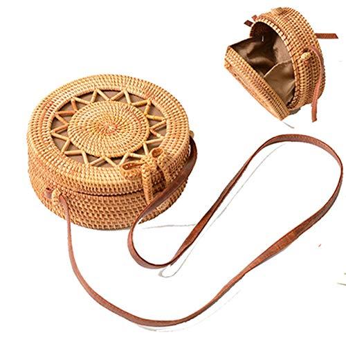 Egurs handgeweven ronde rotan tas schoudertas handtas cross-body strotas voor reizen vakantie strand