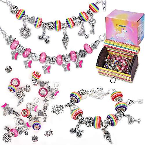 Flyfun Kit per Braccialetti Ragazza, Kit di creazione di Gioielli per Ragazze, Natale Braccialetti con ciondoli Perline Catene per Regalo