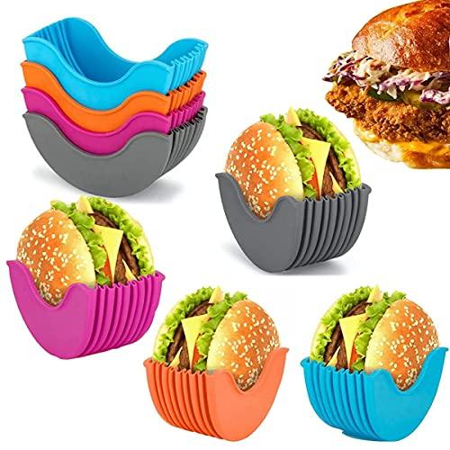 Burger Halter, 4 Stück Silikon Verstellbarer Hamburger Burger Feste Box Wiederverwendbare Tragbare Lebensmittel Burger Rack, Hygienische Sandwich Lagerung Dip Sauce Burger Halter