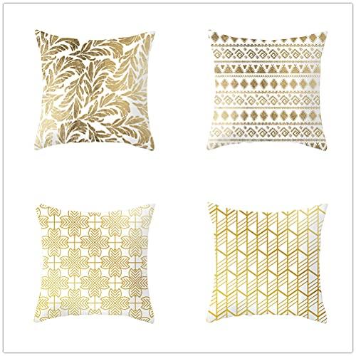 Niuqichongtian Funda de almohada de rayas coloridas brillante oro amarillo patrón cojín cubierta coche sofá cama cabeza cojín decoración fiesta regalo TPR060-7TPR060-7