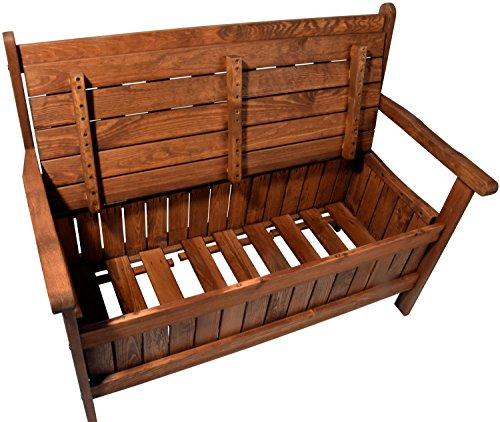 dobar Gartenbank Massive mit Lehne 2-Sitzer aus FSC Holz, 115x58x89cm, braun - 2