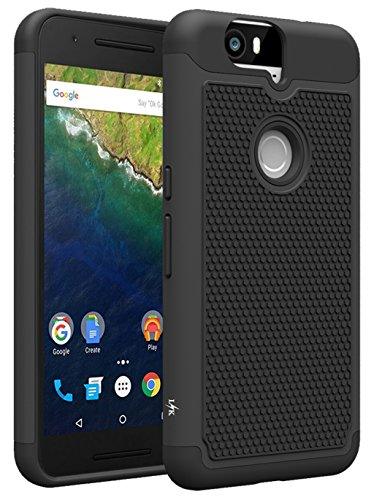 Nexus 6P Case, LK [Shock Absorption] Drop Protection Hybrid Dual Layer Armor Defender Protective Case Cover for Google Nexus 6P, Black