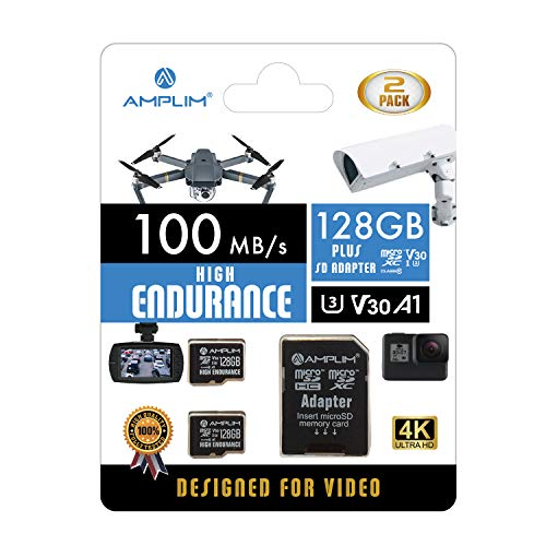 Amplim 2-Pack High Endurance 128GB MicroSDXC Card for Video Monitoring - Dash Cam, Body Cam, Surveillance Cam, Home Security Cam, Drone, Action Camera