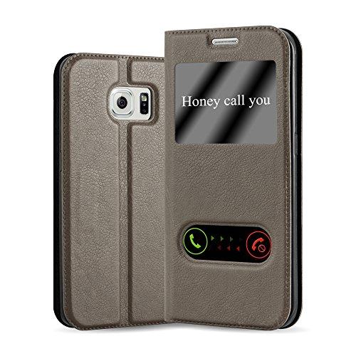 Cadorabo Hülle für Samsung Galaxy S6 Edge - Hülle in Stein BRAUN – Handyhülle im Standfunktion und 2 Fenstern (View Design) - Case Cover Schutzhülle Etui Tasche Book Klapp Style