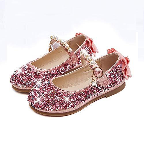WQBB Prinzessin Mädchenschuhe, Prinzessin Ballerinas Kinder Schuhe,Weich und angenehm zu tragen Geeignet zum Tragen mit Anderen Kostüme und Party Kostüm Outfit in Allen Gelegenheiten,Rosa,EU30