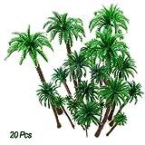 20Pc Palmeras de coco Modelo árboles Diseño del modelo Tren Palmera de selva tropical, Artificial Plastic Layout...