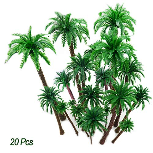 Hatisan 20Pcs Coconut Palm Model Trees/Scenery Model Plastic Artificial Layout Rainforest Diorama, Building Model Trees Cake Topper, Model Train Railways Architecture Landscape (Dark Trunk)