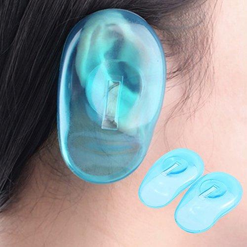 Steellwingsf 2 pcs clair d'oreille en silicone Coque Home Salon Cheveux Dye Shield protecteurs Bleu