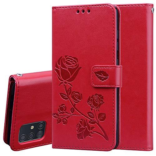 TANYO Funda Adecuado para Samsung Galaxy Note10 Lite, Diseño Retro del Modelo de Flores, PU Premium Cuero Fundas, Ranuras para Tarjetas, Stand Function Flip Wallet Case Cover, Rojo