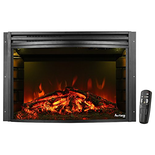 e-Flame USA Quebec 27-inch Electric Fireplace Stove Insert with Remote - 3-D Log and Fire Effect -  EF-BLT10