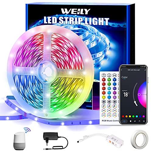 Wifi Tira LED 15M, WEILY 15m Color flexible que cambia el control del teléfono RGB Tira de luz llevada inteligente Tiras LED Funciona con Alexa