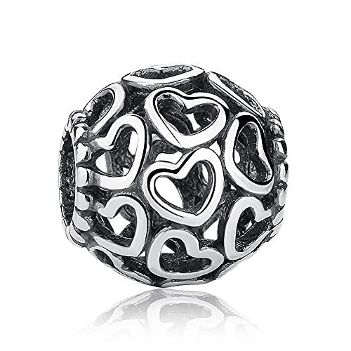 LIIHVYI Pandora Charms para Mujeres Cuentas Plata De Ley 925 Codemonkey Real Hollow Love Brazalete Joyas Cmc Compatible con Pulseras Europeos Collars