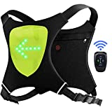 ECEEN LED Flashing Vest and Cycling Stop Light - Double Visible Front and Rear Jacket - Cordless and Rechargeable - Ideal for Bikes and Electric Scooters - Adaptable to Backpack (Green)