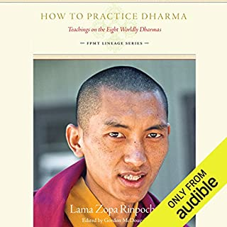 How to Practice Dharma     Teachings on the Eight Worldly Dharmas              By:                                                                                                                                 Lama Zopa Rinpoche,                                                                                        Gordon McDougall (editor)                               Narrated by:                                                                                                                                 Subhash Mandal                      Length: 9 hrs and 11 mins     5 ratings     Overall 5.0