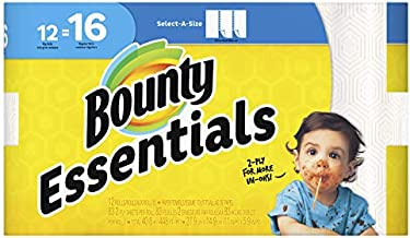 Bounty Essentials 74682 Select-a-Size Paper Towels, 5 9/10 x 11, 2-Ply, White, 83 Sheets/ Roll (Pack of 12)