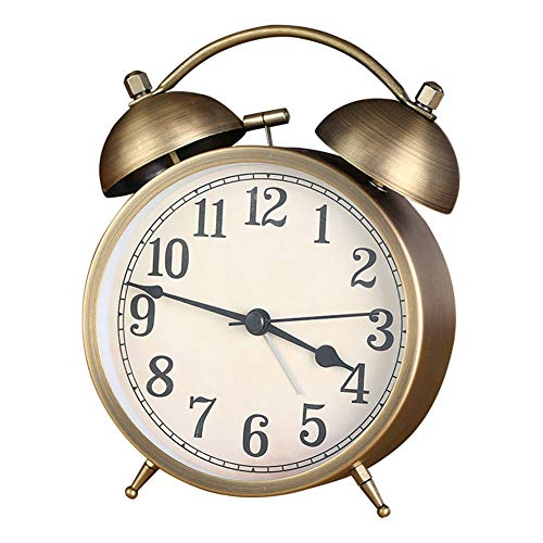 """XNZ 4"""" Analog Twin Bell Alarm Clock, Stereoscopic Dial Non-Ticking Bedside Table Travel Clock Vintage Alarm Clock with Nightlight and Loud Alarm, Battery Operated (Not Included)"""