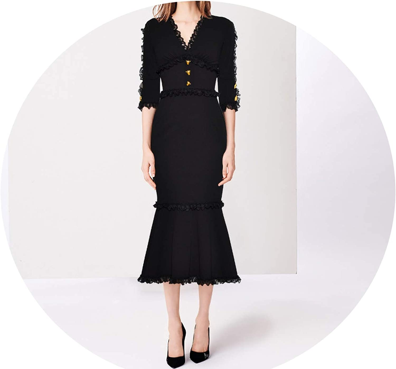 SHINeIsland Fashion Dress Summer Women VNeck Half Sleeve Lace Button Slim Packet Hip Noble Elegant Fishtail Dress