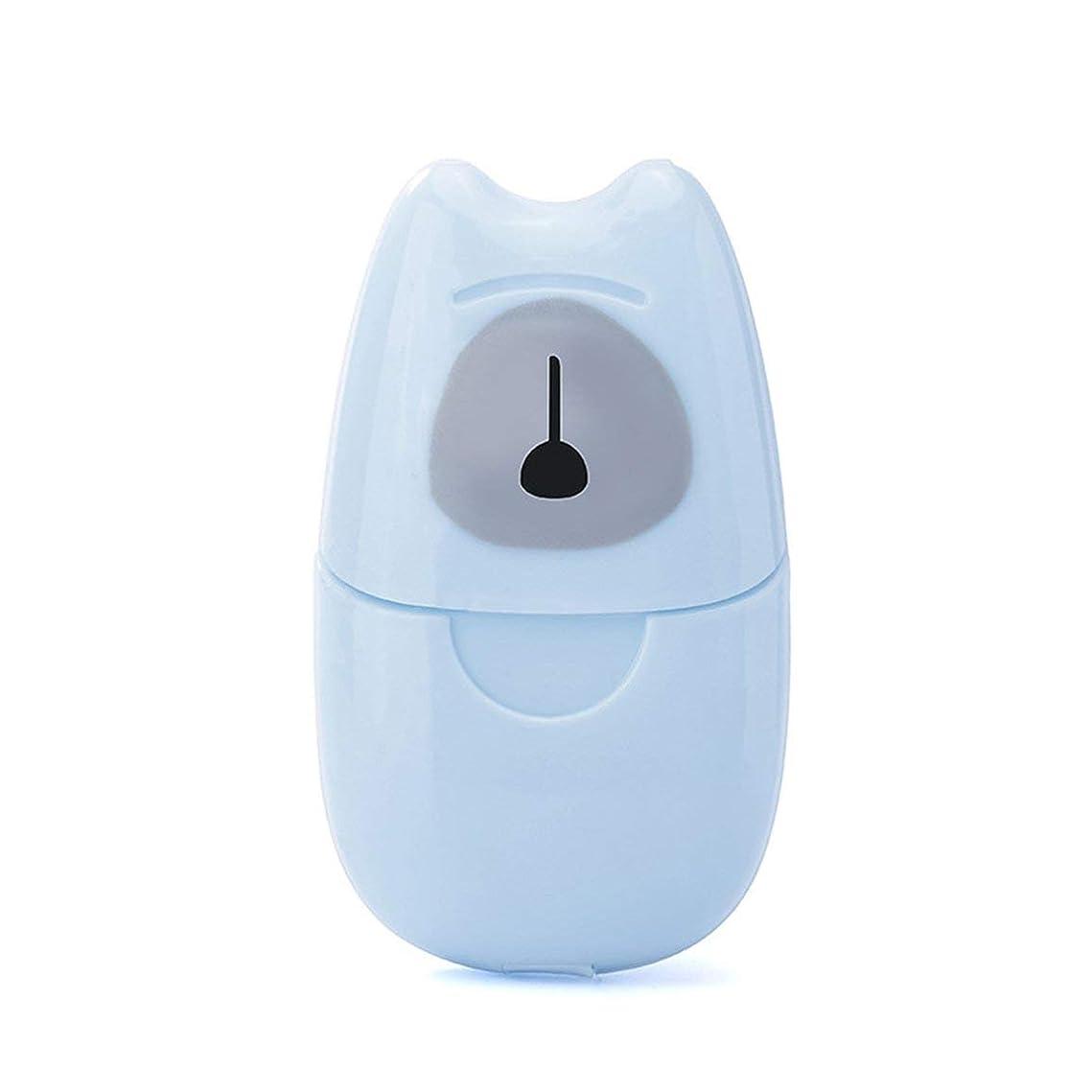 失効スタウト回転する箱入り石鹸紙旅行ポータブルアウトドア手洗い石鹸香りスライスシート50個入りミニ石鹸紙でプラスチックボックス - ブルー