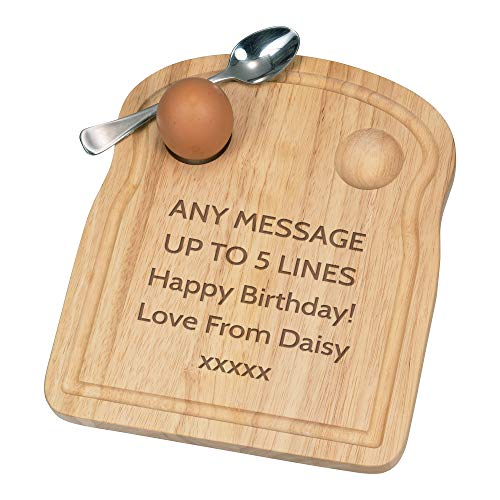 Personalised Custom Any Message Text Name Breakfast Dippy Egg Cup Board Wooden