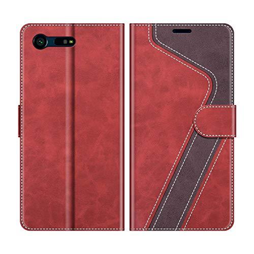 MOBESV Funda para Sony Xperia X Compact, Funda Libro Sony Xperia X Compact, Funda Móvil Sony Xperia X Compact Magnético Carcasa para Sony Xperia X Compact Funda con Tapa, Rojo