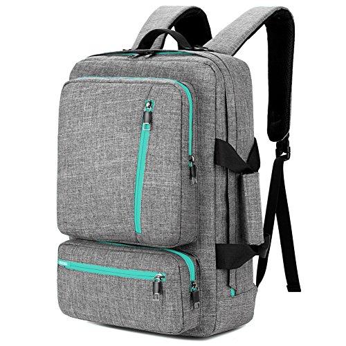 SOCKO Laptop-Rucksack, 43,2 cm (17 Zoll), wandelbarer Rucksack, Reiserucksack, Wanderrucksack, College-Schulterrucksack, passt bis zu 43,2 cm (17 Zoll) Laptop Notebook für Männer/Frauen, grau-grün