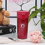 Anfwy Taza de café de Acero Inoxidable Moda Pinball Taza de Aislamiento Portátil Estudiante Deportes al Aire Libre Que acompaña la Taza 101m1-500ml Rojo