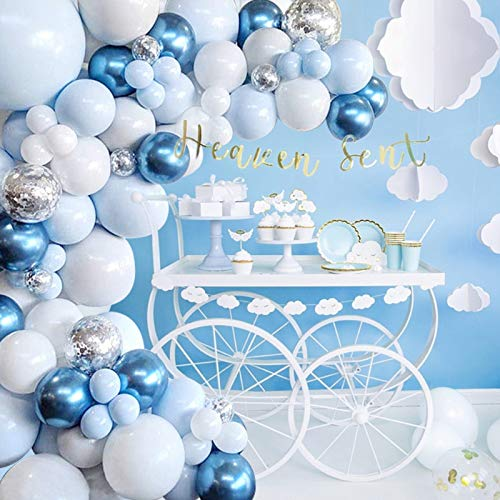 QIFU Blue Balloons Garland Arch Kit - 104Pcs Macaron Blue White Silver Balloon arch kit Decorations Set with Confetti Balloons pack for Boys and Girls Baby Shower,Wedding, Birthday Party Decor