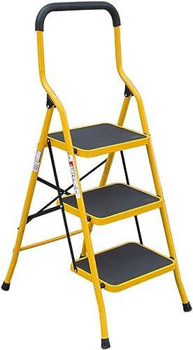 GYH Tritthocker Eisen Anti-Rutsch-Leiter Klappstuhl mit Stuhl mit Anti-Rutsch-Pedal Outdoor-Portable Klappschemel Leiter Lagerregal Blaumenst er 3 Grünauswahl ( ) (Größe   3 Tiers)