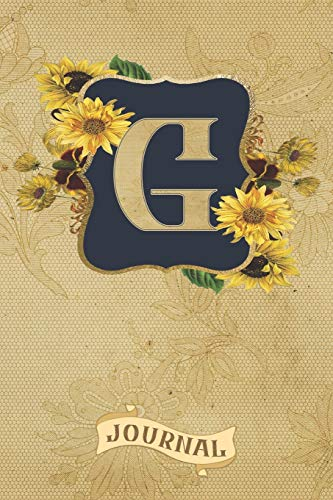 G Journal: Vintage Sunflowers Journal Monogram Initial G Lined and Dot Grid Notebook | Decorated Interior