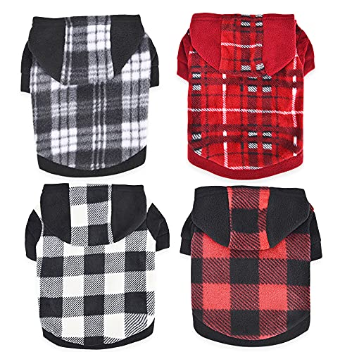 4 Pack Small Dog Hoodie Puppy Sweater Winter Warm Coat for Yorkie Chihuahua Out fit Pet Clothes Puppies Vest Hooded Cat Clothing Costume for Teacup French Bulldog Pug (Large)