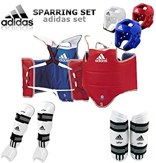 adidas [GTE Zone TKD WTF Approved Taekwondo Sparring Gear Set (Foam H/G, Body, Forearm, Shin & Instep Protector & Free Double Mouth Guard)