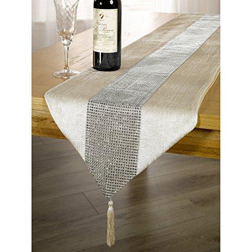 (パナシェ) Panache お部屋のおしゃれなアクセントに ディアマンテストリップ・タッセルつき ゴージャス テーブルランナー (33cm x 183cm) (クリーム)