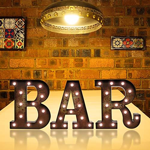 Rostfarbene LED-Leiste mit Lichtern, beleuchtete Buchstaben, Festzelt-Schilder, batteriebetrieben, Schreibtisch-Tisch, Wortschilder, Lampe für Bar, Kneipe, Bistro, Party-Dekoration, Rostbar