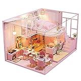 Blanket Invernadero 3D, cabañas de Madera para Bricolaje, casa de muñecas en Miniatura con Muebles, Cubierta Antipolvo y Movimiento Musical, Idea Creativa de habitación a Escala 1:24 para Navidad