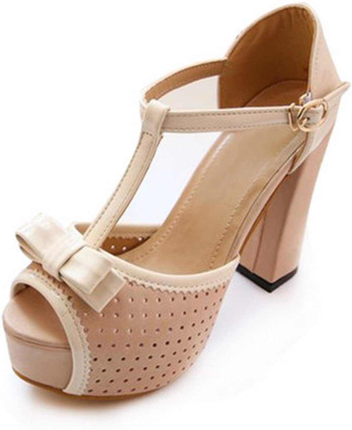 Summer fallow hollow platform peep toes Rough with high-heel Sandals