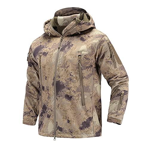Chaqueta militar de los hombres camuflaje táctico paño grueso y suave ropa masculina impermeable, D, XXL