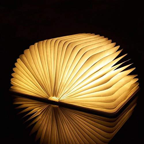 Lámpara de escritorio plegable de madera para leer, con luz LED magnética, recargable por USB, ideal como regalo