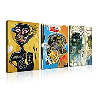 バスキア アートパネル フレームつき 3枚セット 飾り絵 ポスター抽象落書き 壁掛けアート アートフレーム モダン アートボード インテリア 絵画 印刷された インテリア部屋飾り 壁掛け(B, 50cmX70cm)